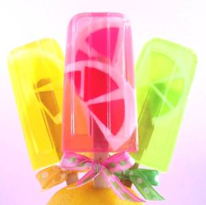 lemonade, pink grapefruit and lime time soapsicles