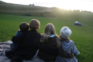 watching the sun setting on top of the hill