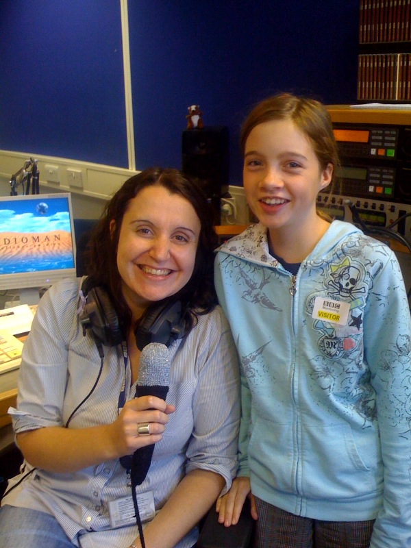 Bama with Sarah Walker, BBC Radio Berkshire and knitted microphone